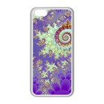Sea Shell Spiral, Abstract Violet Cyan Stars Apple iPhone 5C Seamless Case (White)