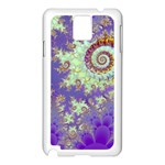 Sea Shell Spiral, Abstract Violet Cyan Stars Samsung Galaxy Note 3 N9005 Case (White)