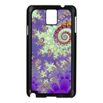 Sea Shell Spiral, Abstract Violet Cyan Stars Samsung Galaxy Note 3 N9005 Case (Black)