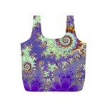 Sea Shell Spiral, Abstract Violet Cyan Stars Reusable Bag (S)