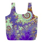 Sea Shell Spiral, Abstract Violet Cyan Stars Reusable Bag (L)