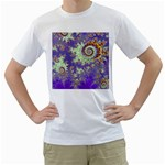 Sea Shell Spiral, Abstract Violet Cyan Stars Men s T-Shirt (White)