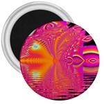 Magenta Boardwalk Carnival, Abstract Ocean Shimmer 3  Button Magnet