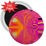 Magenta Boardwalk Carnival, Abstract Ocean Shimmer 3  Button Magnet (100 pack)