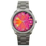 Magenta Boardwalk Carnival, Abstract Ocean Shimmer Sport Metal Watch