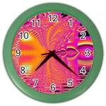 Magenta Boardwalk Carnival, Abstract Ocean Shimmer Wall Clock (Color)