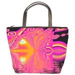 Magenta Boardwalk Carnival, Abstract Ocean Shimmer Bucket Handbag