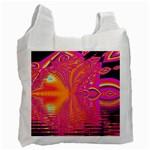 Magenta Boardwalk Carnival, Abstract Ocean Shimmer White Reusable Bag (One Side)