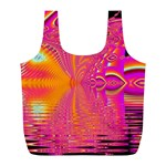 Magenta Boardwalk Carnival, Abstract Ocean Shimmer Reusable Bag (L)