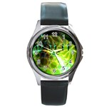 Dawn Of Time, Abstract Lime & Gold Emerge Round Leather Watch (Silver Rim)