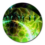Dawn Of Time, Abstract Lime & Gold Emerge 8  Mouse Pad (Round)