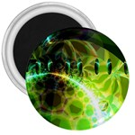 Dawn Of Time, Abstract Lime & Gold Emerge 3  Button Magnet