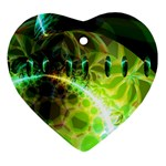 Dawn Of Time, Abstract Lime & Gold Emerge Heart Ornament