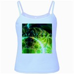 Dawn Of Time, Abstract Lime & Gold Emerge Baby Blue Spaghetti Tank
