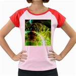 Dawn Of Time, Abstract Lime & Gold Emerge Women s Cap Sleeve T-Shirt (Colored)