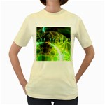 Dawn Of Time, Abstract Lime & Gold Emerge Women s T-shirt (Yellow)