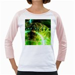 Dawn Of Time, Abstract Lime & Gold Emerge Women s Long Cap Sleeve T-Shirt (White)