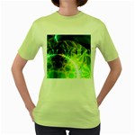 Dawn Of Time, Abstract Lime & Gold Emerge Women s T-shirt (Green)