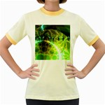 Dawn Of Time, Abstract Lime & Gold Emerge Women s Ringer T-shirt (Colored)