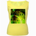 Dawn Of Time, Abstract Lime & Gold Emerge Women s Tank Top (Yellow)