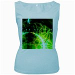 Dawn Of Time, Abstract Lime & Gold Emerge Women s Tank Top (Baby Blue)