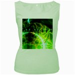 Dawn Of Time, Abstract Lime & Gold Emerge Women s Tank Top (Green)