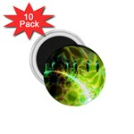 Dawn Of Time, Abstract Lime & Gold Emerge 1.75  Button Magnet (10 pack)