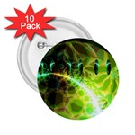 Dawn Of Time, Abstract Lime & Gold Emerge 2.25  Button (10 pack)