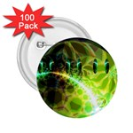Dawn Of Time, Abstract Lime & Gold Emerge 2.25  Button (100 pack)