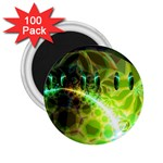 Dawn Of Time, Abstract Lime & Gold Emerge 2.25  Button Magnet (100 pack)