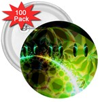 Dawn Of Time, Abstract Lime & Gold Emerge 3  Button (100 pack)