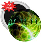 Dawn Of Time, Abstract Lime & Gold Emerge 3  Button Magnet (100 pack)