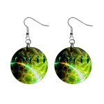 Dawn Of Time, Abstract Lime & Gold Emerge Mini Button Earrings