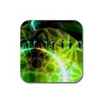Dawn Of Time, Abstract Lime & Gold Emerge Drink Coaster (Square)
