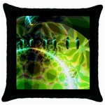 Dawn Of Time, Abstract Lime & Gold Emerge Black Throw Pillow Case