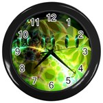 Dawn Of Time, Abstract Lime & Gold Emerge Wall Clock (Black)