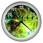 Dawn Of Time, Abstract Lime & Gold Emerge Wall Clock (Silver)