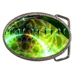 Dawn Of Time, Abstract Lime & Gold Emerge Belt Buckle (Oval)
