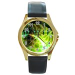 Dawn Of Time, Abstract Lime & Gold Emerge Round Leather Watch (Gold Rim)