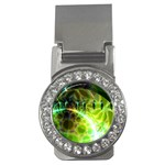 Dawn Of Time, Abstract Lime & Gold Emerge Money Clip (CZ)