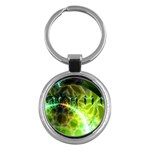 Dawn Of Time, Abstract Lime & Gold Emerge Key Chain (Round)