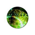 Dawn Of Time, Abstract Lime & Gold Emerge Drink Coaster (Round)