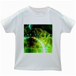 Dawn Of Time, Abstract Lime & Gold Emerge Kids T-shirt (White)
