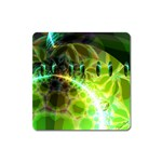 Dawn Of Time, Abstract Lime & Gold Emerge Magnet (Square)