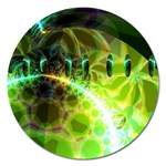 Dawn Of Time, Abstract Lime & Gold Emerge Magnet 5  (Round)