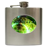 Dawn Of Time, Abstract Lime & Gold Emerge Hip Flask
