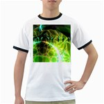 Dawn Of Time, Abstract Lime & Gold Emerge Men s Ringer T-shirt