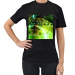 Dawn Of Time, Abstract Lime & Gold Emerge Women s Two Sided T-shirt (Black)