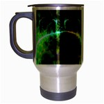 Dawn Of Time, Abstract Lime & Gold Emerge Travel Mug (Silver Gray)