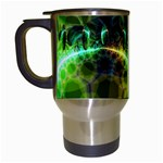 Dawn Of Time, Abstract Lime & Gold Emerge Travel Mug (White)